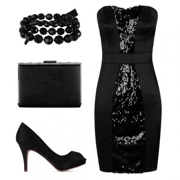 vestido preto com lantejoulas